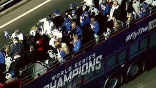 Cubs Players, Fans Celebrate Victory with Parade