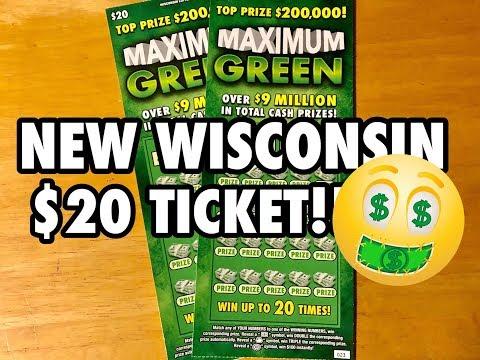 NEW WISCONSIN $20 TICKET MAXIMUM GREEN!  Wisconsin Lottery Scratch Offs!!