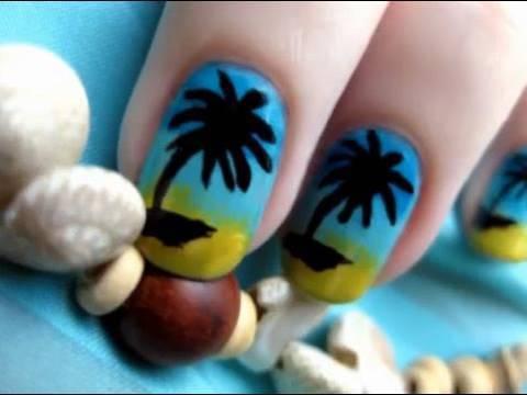 palm tree nail art