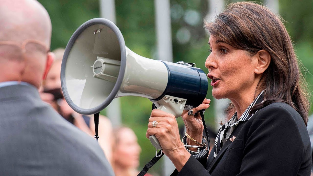 Nikki Haley joins megaphone protest against Venezuela's Maduro