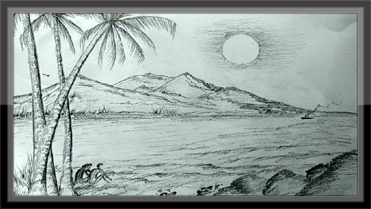 Pencil drawings landscape romantic nature scenery ➤easy