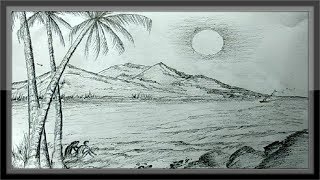 pencil nature drawings easy landscape scenery romantic