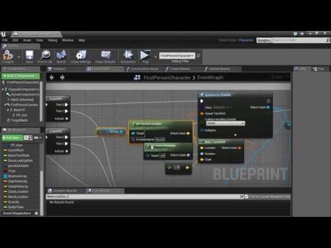 Unreal Engine 4 - Weapon (4). 3/3. Траектория полета. Контролируемая скорость броска гранаты.