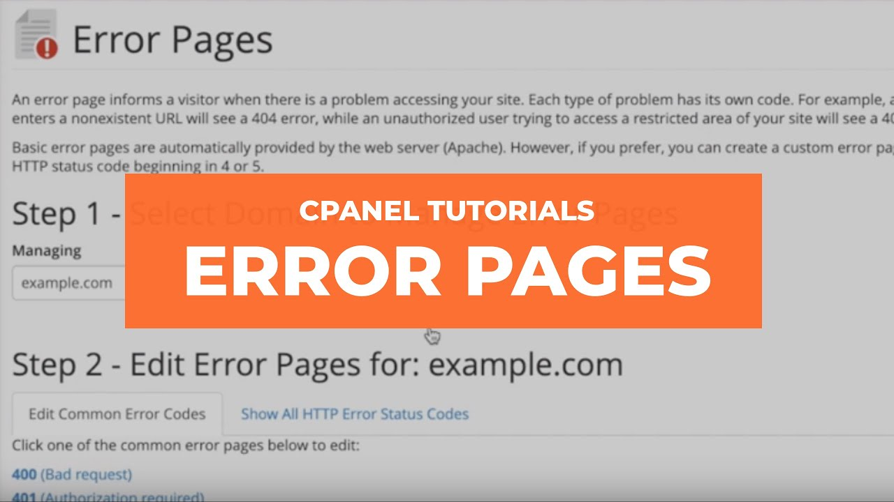 cPanel Tutorials - Error Pages