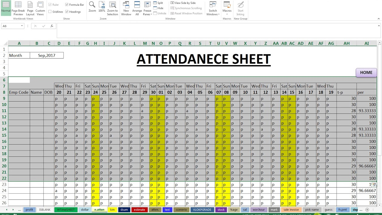 attendance sheet with percentage youtube