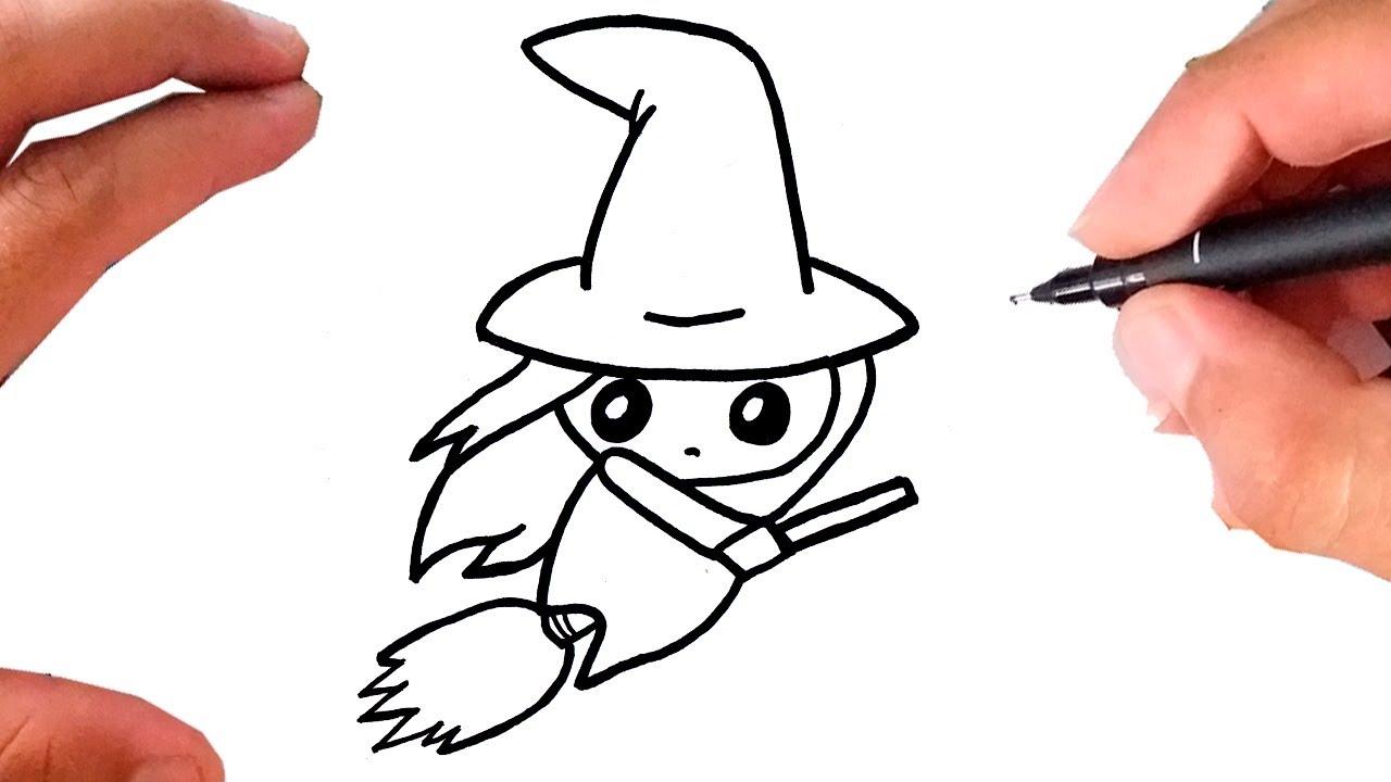 Como Desenhar Uma Bruxinha Kawaii Halloween Youtube