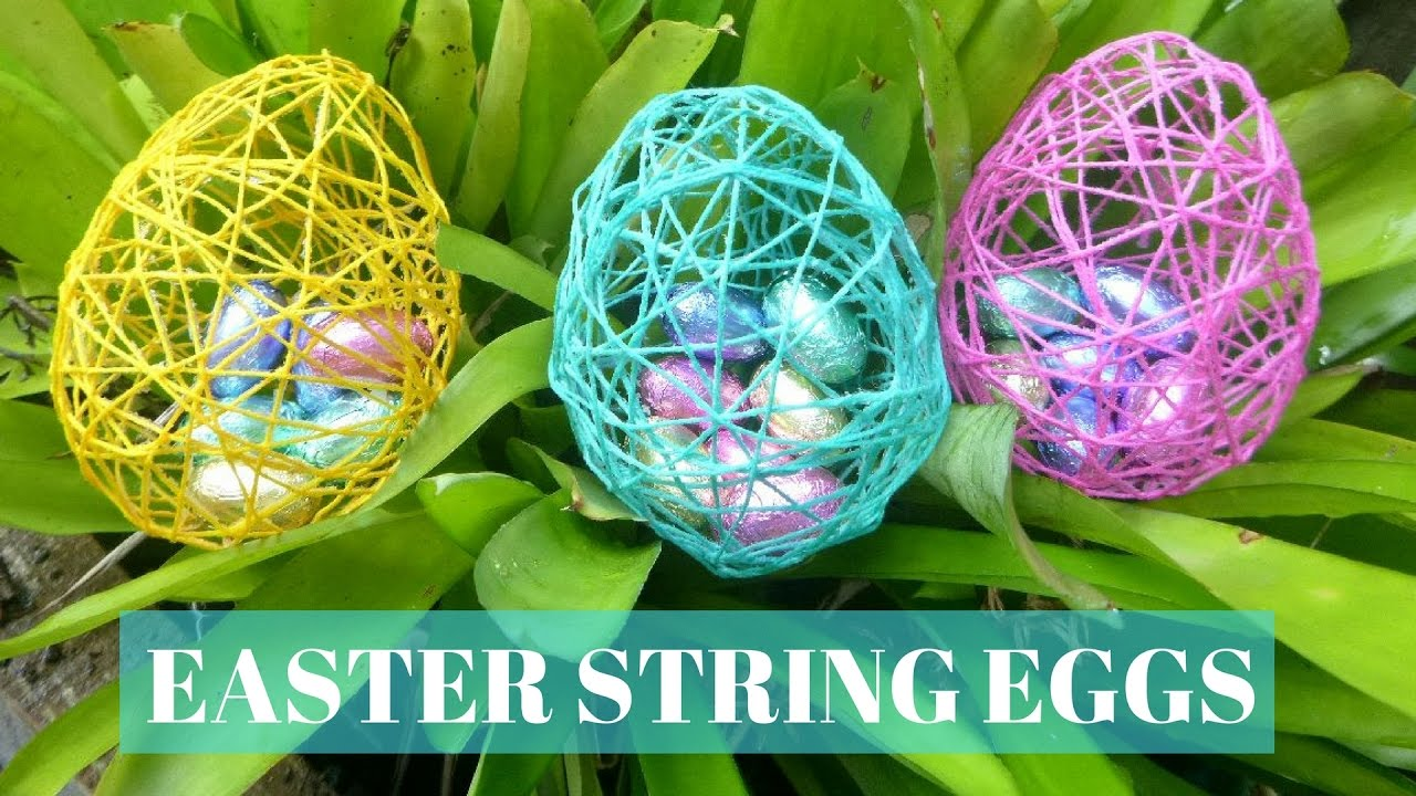 easter crafts diy easter string eggs youtube