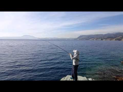 Yamaga 95MMH blue sniper shore jigging action Greece/slow motion 1/4+1/8 time