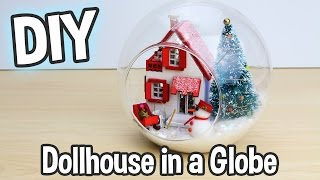 DIY Miniature Dollhouse Kit Cute Christmas Globe Ornament with Working Lights! / Relaxing Crafts