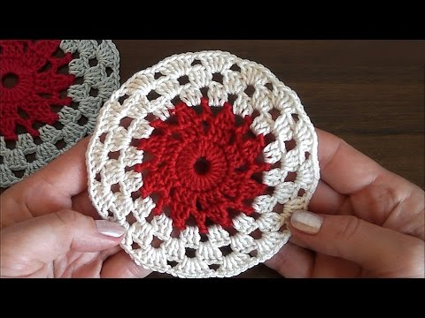 Crochet Round Motif Tutorial. Very easy for beginners - YouTube