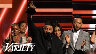 DJ Khaled Brings Nipsey Hussle's Family Backstage at the Grammys