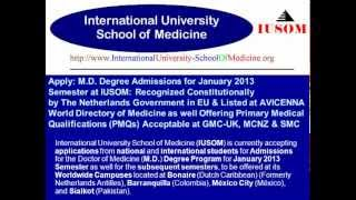 M.D. Degree Admissions for January 2013 Semester at IUSOM: Listed at AVICENNA Directory