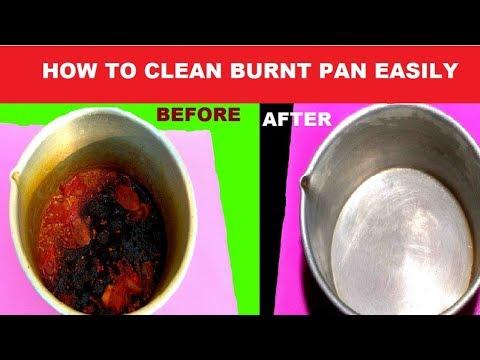How to Clean Burnt Pan Easily || Useful Kitchen Tips || রান্নার পোড়া দাগ সহজে তুলে ফেলুন