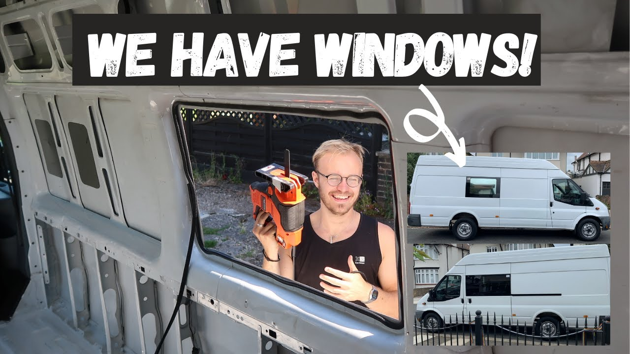 DIY CAMPER CONVERSION: Installing windows and floor batons!  | Lucy Lynch