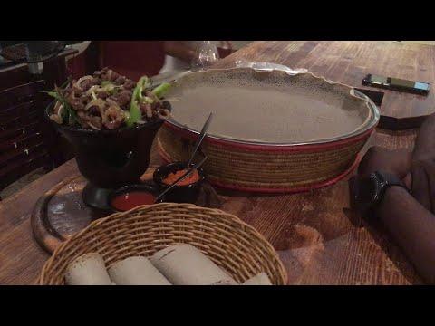 Ethiopian Food –  Eating Addis Ababa Food At Theodhoros in Tel Aviv, Israel. Ethiopia Street Food