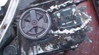 Сгорело сцепление бензопилы.   Burned Clutch chainsaw.