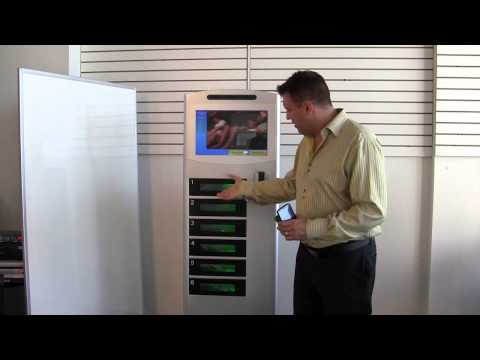 Commercial cell phone charging station with lockers Cell Juicer