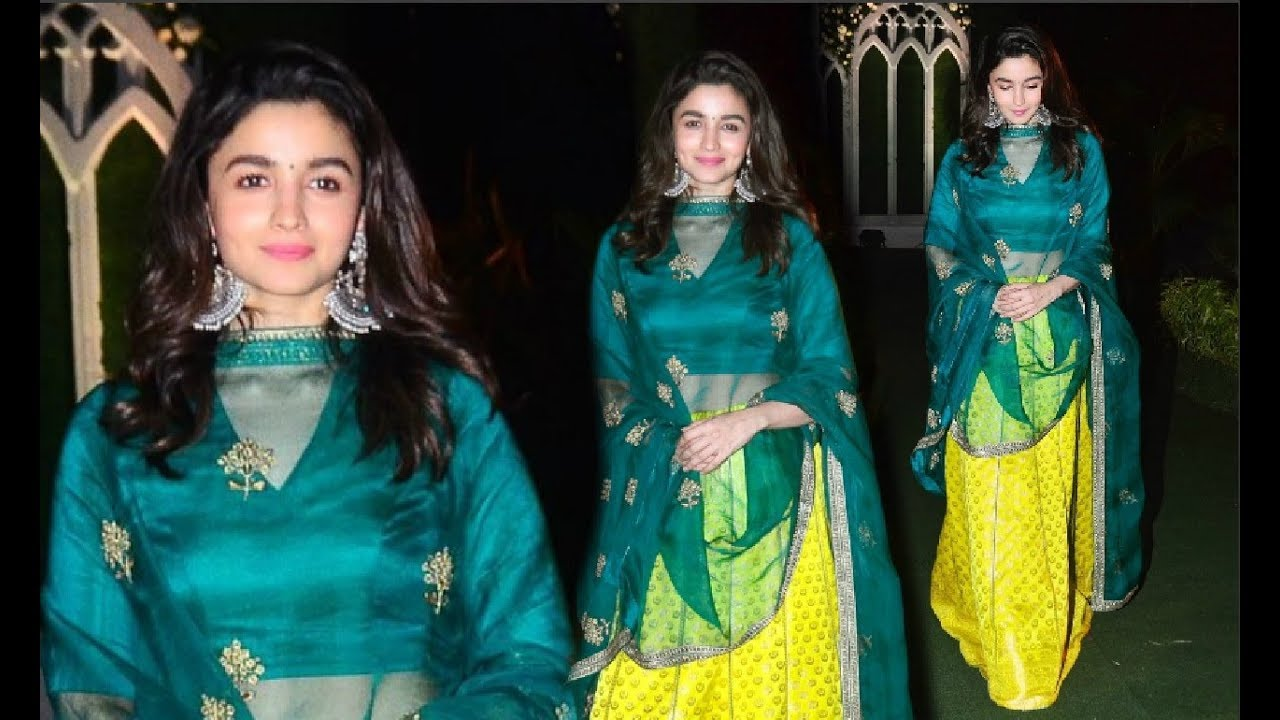 Alia Bhatt Look Stunning In Neon Yellow Lehenga At Bff Wedding - YouTube