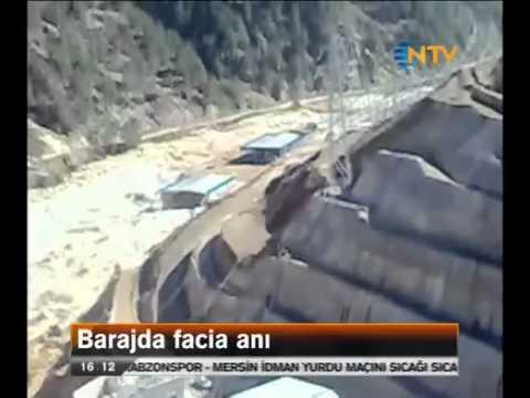 Adana Kozan'da Barajın Patlama Anı. Cep Telefonu Görüntüsü. 10 İşçi kaybolmuştu