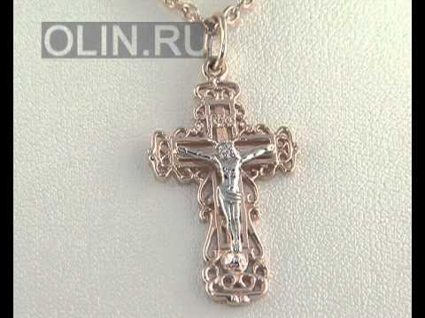 Нательный крест из розового и белого золота