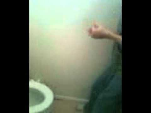 My friends brother kissing the toilet(: