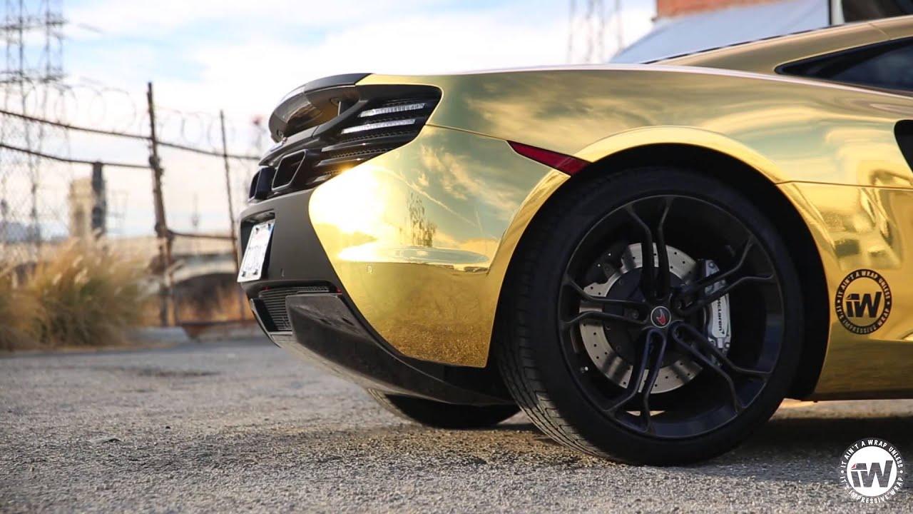 Mclaren Mp4 12c Wrapped In Gold Chrome W Matte Black