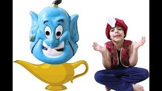 زياد يظهر الجني من مصباح علاء الدين !!!-Zyad pretend play with Aladdin's lamp