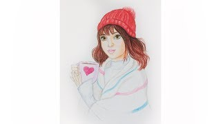 Как нарисовать девочку в пледе с чаем  Уроки рисования | Art school