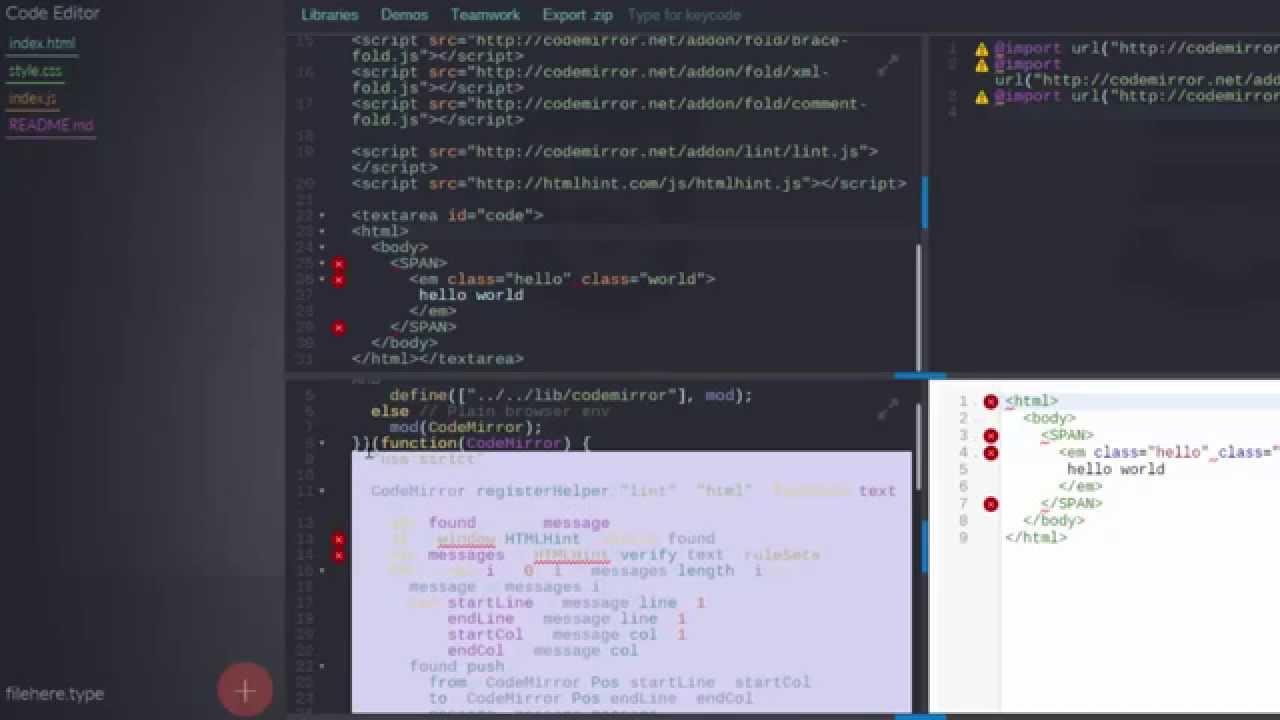 HTMLHint Linter Codemirror Integration