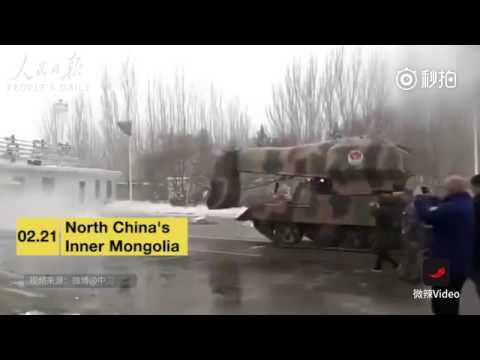 Powerful snow-blowing tank converted from military vehicle is seen in Inner Mongolia