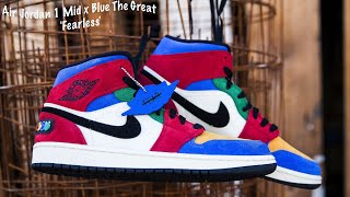 Gambar cover FIRST LOOK: Air Jordan 1 Mid x Blue The Great 'Fearless' |SHIEKH