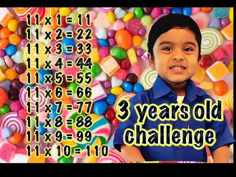 Adorable 3 Year Old Kid Genius  writing 10 & 11 times tables