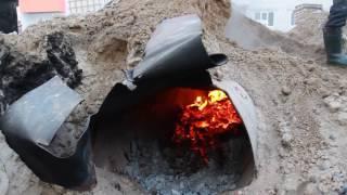 строительство и ремонт  Приготовление раствора зимой для кладки кирпича Часть1