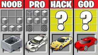 Minecraft Battle: NOOB vs PRO vs HACKER vs GOD : SUPER CAR CRAFTING Challenge in Minecraft