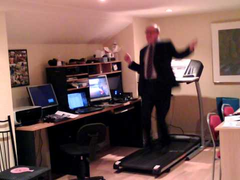 Business Man Dancing on Treadmill