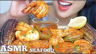 ASMR SEAFOOD BOIL PLATTER + PURPLE CORN (EATING SOUNDS) NO TALKING | SAS-ASMR