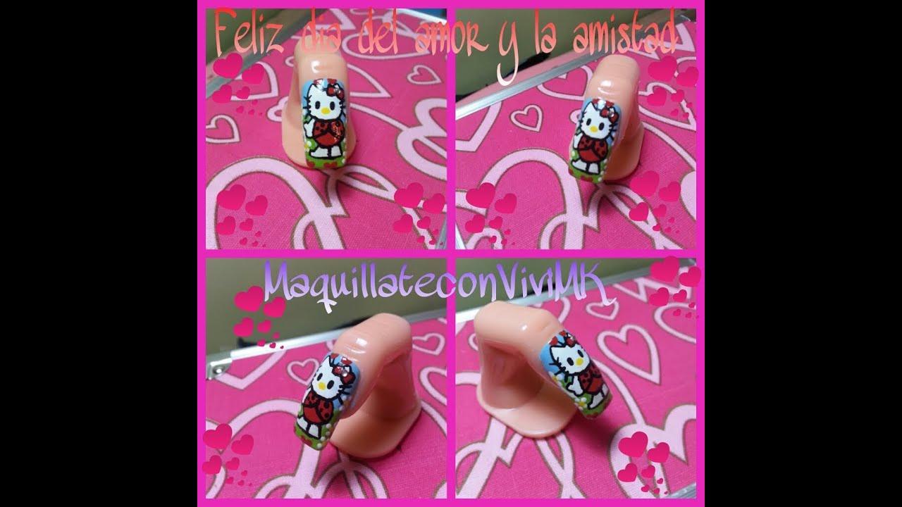 Uñas con diseño de Hello Kitty fácil y muy tiernas. ( colb YMC San ...