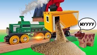 Доставляем пшеницу в хлебопекарню - Железная дорога - Мультики про машинки