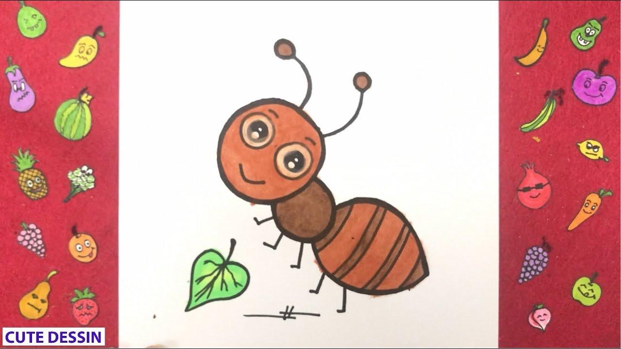 Comment dessiner et colorier une fourmi mignon facilement étape par étape 2 - Dessin fourmi ...