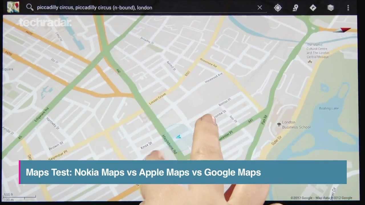 Apple Maps vs Google Maps vs Nokia Maps Test Comparison