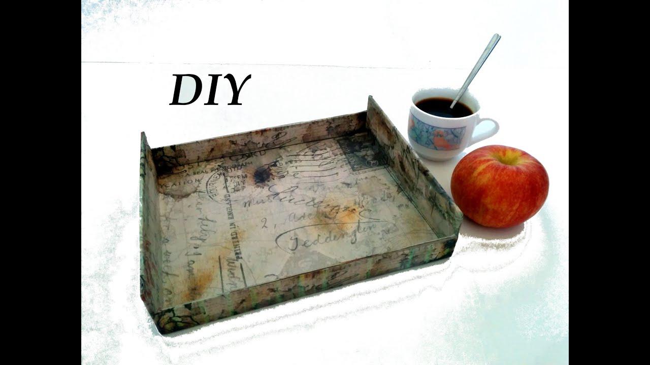 Como hacer una bandeja vintage diy tray vintage crafts - Como hacer una cama de madera ...