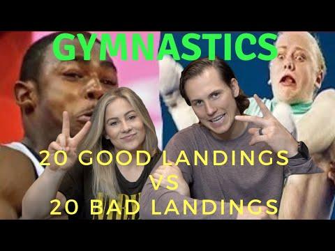 20 GREAT LANDINGS vs 20 BAD LANDINGS Gymnastics Reactions   Shawn Johnson + Andrew East