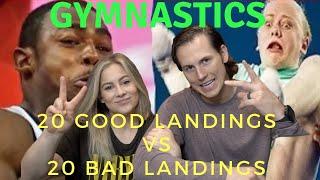 20 GREAT LANDINGS vs 20 BAD LANDINGS Gymnastics Reactions | Shawn Johnson + Andrew East