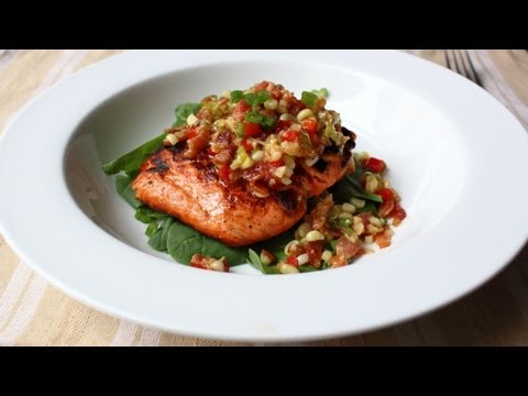 Grilled Salmon with Bacon & Corn Relish - Salmon with Warm Sweet Corn and Bacon Relish Recipe