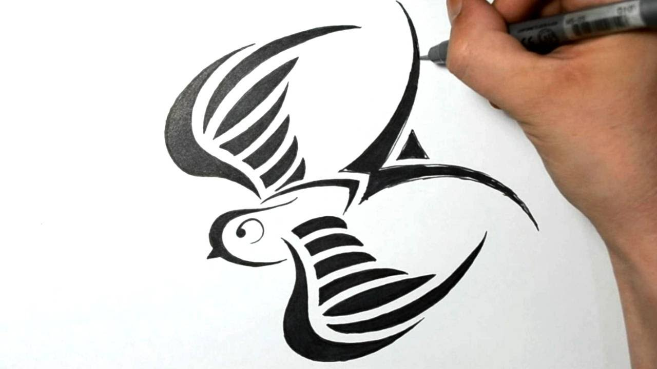 How To Draw A Swallow  Tribal Tattoo Design Style