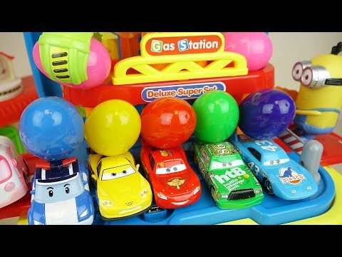 Thumbnail: Cars and Poli car toys station surprise eggs play