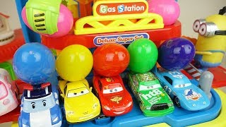 Cars and Poli car toys station surprise eggs play thumbnail