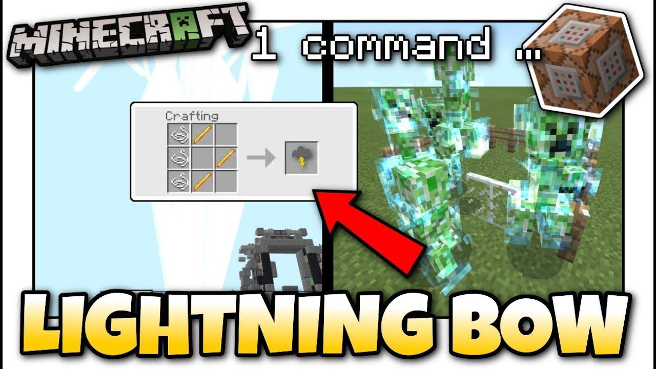 Minecraft - LIGHTNING BOW [ Easy Command Tutorial ] MCPE / Xbox / JAVA /  Bedrock