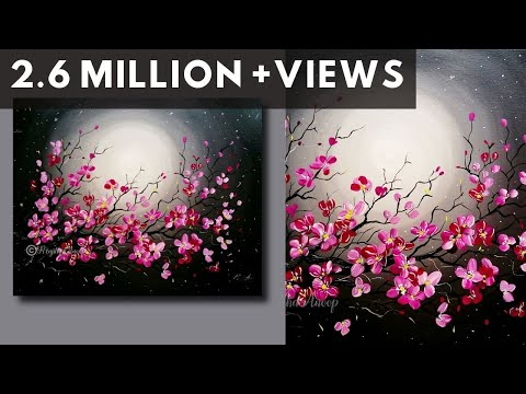 Step by Step acrylic painting on canvas for beginners | moon light night Painting | Tree of flowers