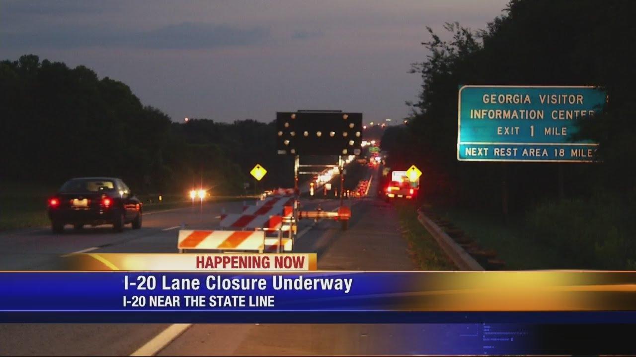 I-20 Lane closure 6-20-18